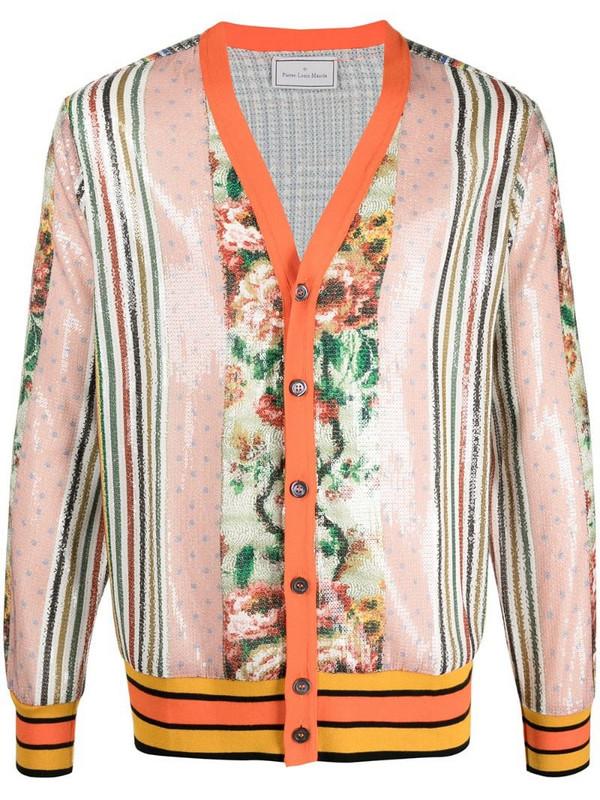 Pierre-Louis Mascia sequin patchwork-print cardigan in orange