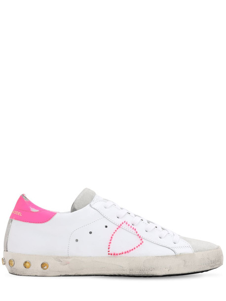 PHILIPPE MODEL Paris Veau Studs Leather Sneakers in fuchsia / white