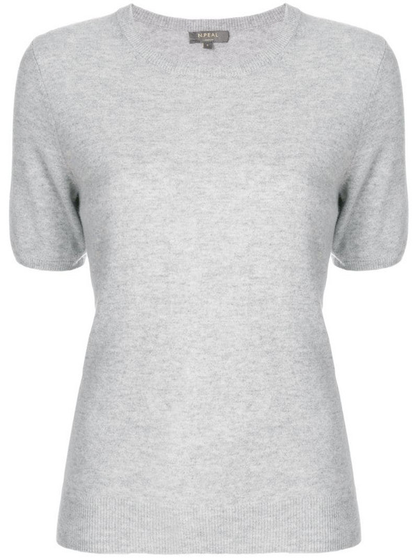 N.Peal cashmere round-neck T-shirt in grey