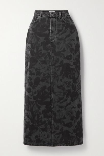 Balenciaga - Floral-print Denim Midi Skirt - Black