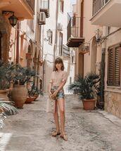 top,shirt,High waisted shorts,flat sandals,handbag
