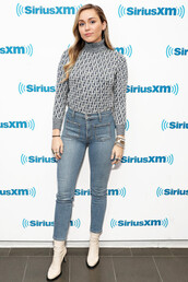 shoes,white boots,miley cyrus,celebrity,denim,jeans,fall outfits,turtleneck
