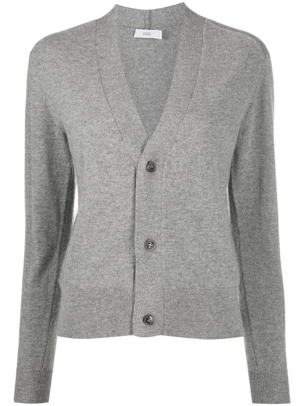 Closed rib-trimmed cashmere cardigan in grey