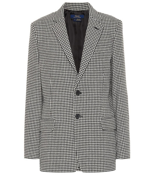 Polo Ralph Lauren Houndstooth wool-blend blazer in grey