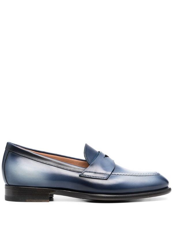 Santoni almond-toe leather loafers in blue
