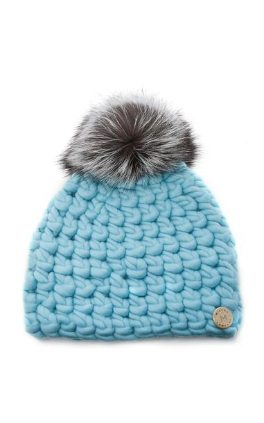 Mischa Lampert Exclusive Fur-Topped Wool Beanie in blue