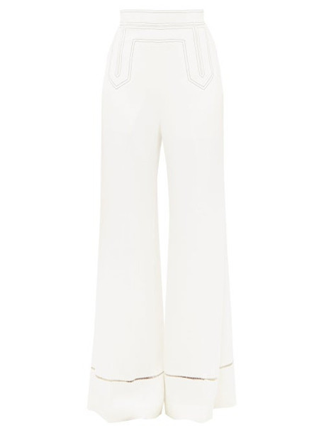 Khaite - Vera Contrast Stitch Wide Leg Trousers - Womens - White
