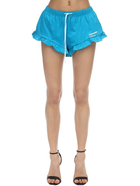 DSQUARED2 Printed Cotton Jersey Shorts W/ Ruffle in blue