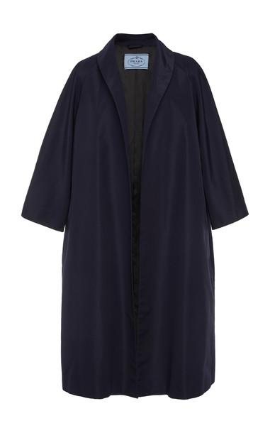 Prada Zippered Silk Overcoat in navy