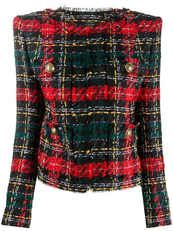 Balmain tartan bouclé tweed blazer in black