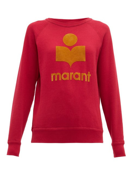 Isabel Marant Étoile - Milly Flocked Logo Cotton Blend Sweatshirt - Womens - Dark Pink