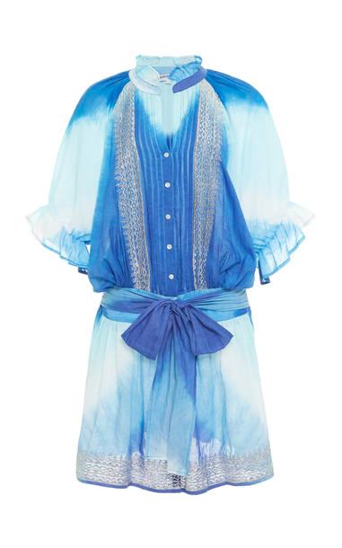 Juliet Dunn Tie Dye Blouson Cotton Mini Dress in blue
