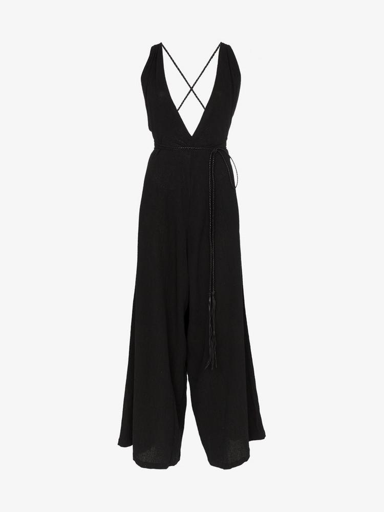 Caravana Pakkun V neck wide leg cotton jumpsuit in black