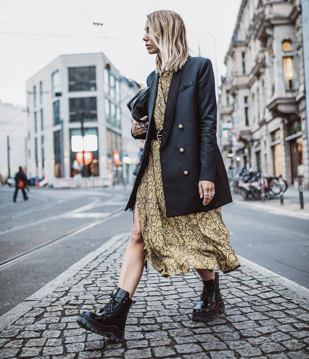 shoes black boots lace up boots snake print midi dress black coat double breasted black belt black bag