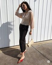 top,shirt,cropped,black skirt,midi skirt,mules,balenciaga,bag