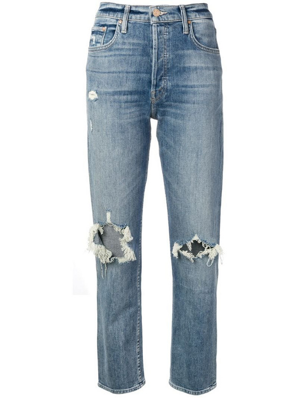 Mother cropped distressed jeans in blue