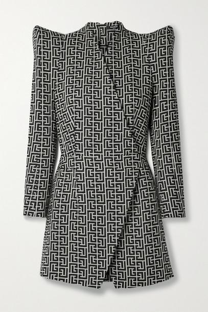 BALMAIN - Wool-jacquard Wrap-effect Mini Dress - Black