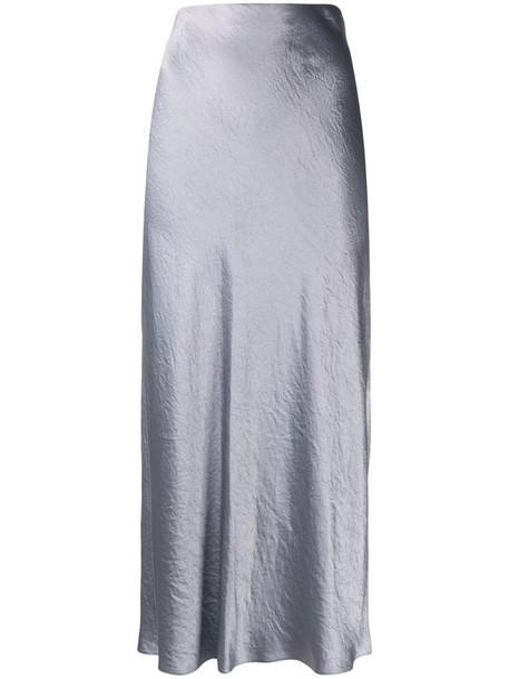 Vince Japanese satin slit skirt in grey