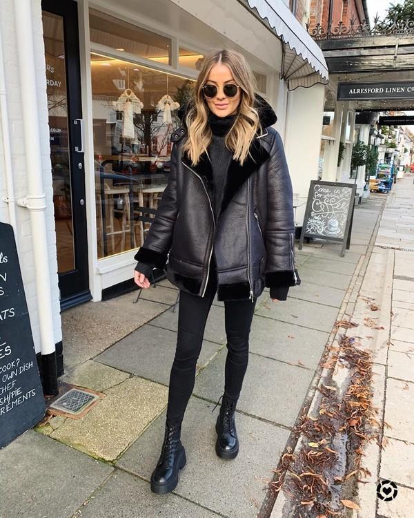 jacket shearling jacket black jeans skinny jeans black boots turtleneck sweater