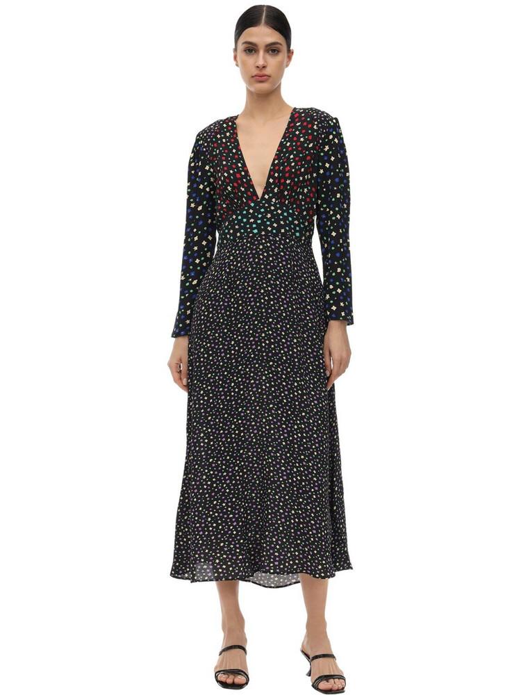 RIXO Cordelia Viscose Blend Crepe Dress in black / multi
