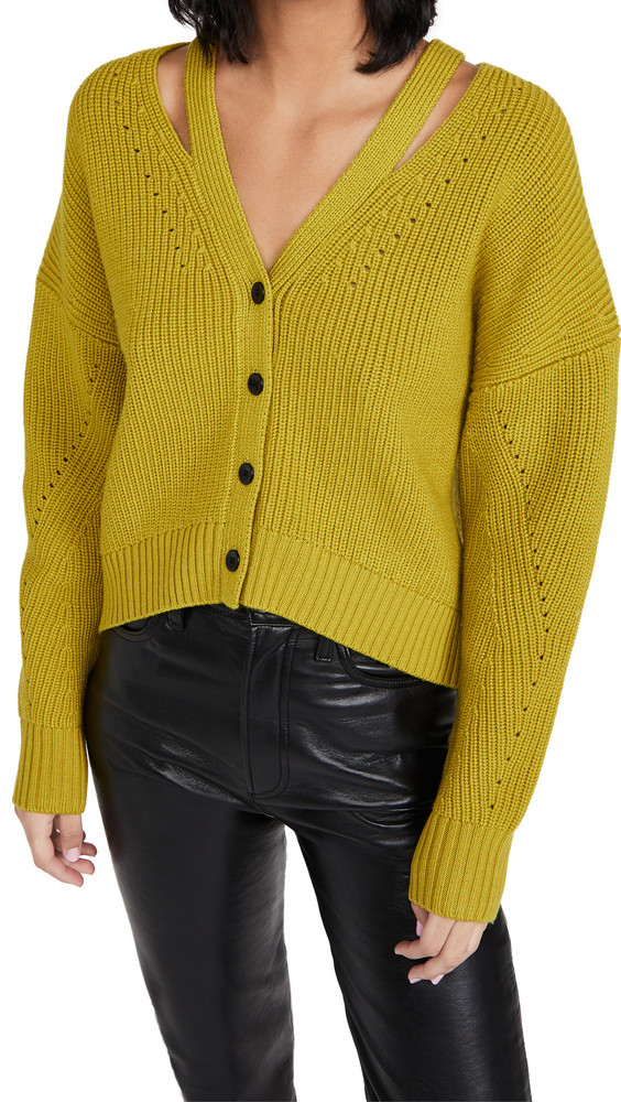 Proenza Schouler White Label Knit Cardigan with Button Back in green
