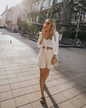 top,crop tops,white top,High waisted shorts,stripes,white blazer,slide shoes,white bag