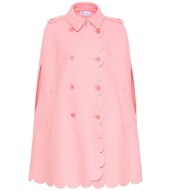 REDValentino Scalloped wool-blend cape in pink