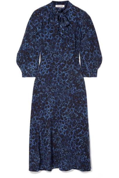 Cefinn - Floral-print Silk Crepe De Chine Midi Dress - Cobalt blue