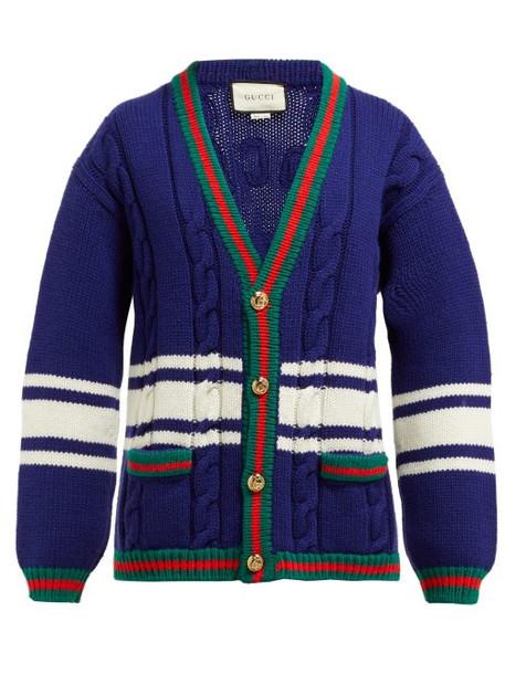 Gucci - La Société Angelique Web Stripe Wool Cardigan - Womens - Blue Multi