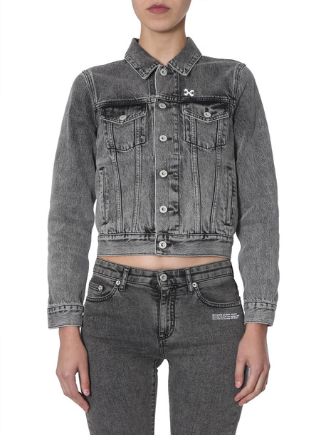 Off-White Cropped Jacket in nero