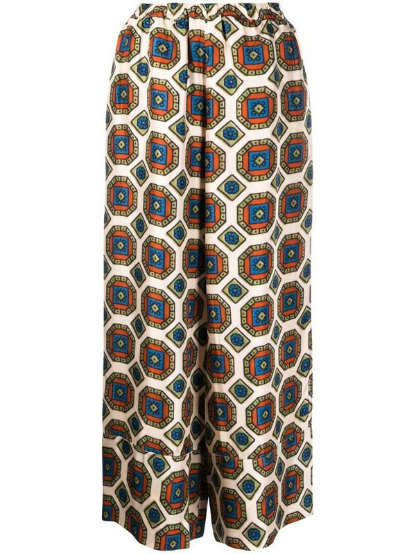Pierre-Louis Mascia geometric-print silk trousers in neutrals