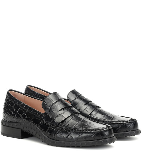 Tod's Croc-effect leather loafers in black