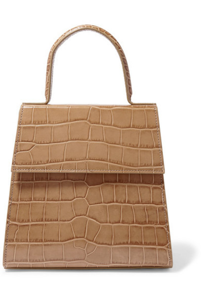 BY FAR - Monet Croc-effect Leather Tote - Taupe
