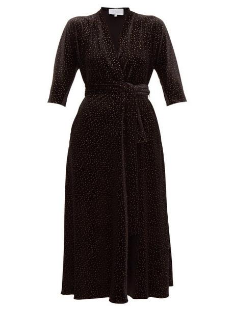 Luisa Beccaria - Wrap Effect Polka Dot Print Velvet Midi Dress - Womens - Black Gold