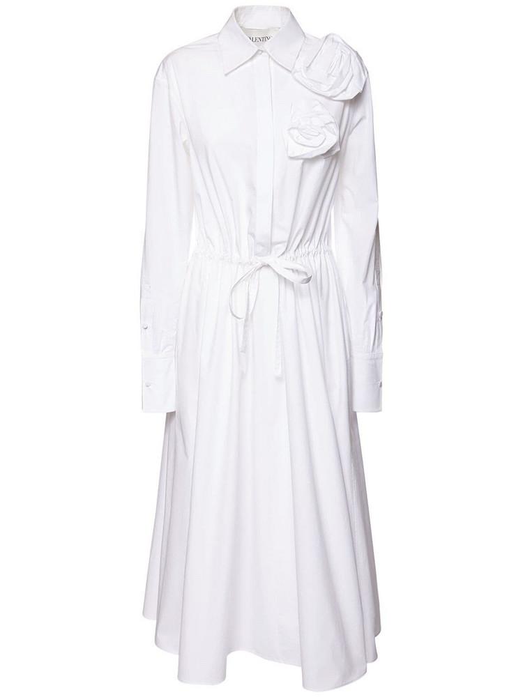 VALENTINO Cotton Poplin Blossom Long Dress in white