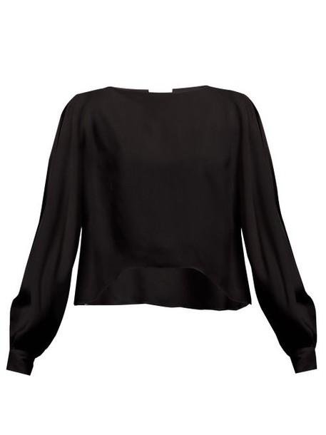 Alexandre Vauthier - Slit Batwing Sleeve Crepe Blouse - Womens - Black