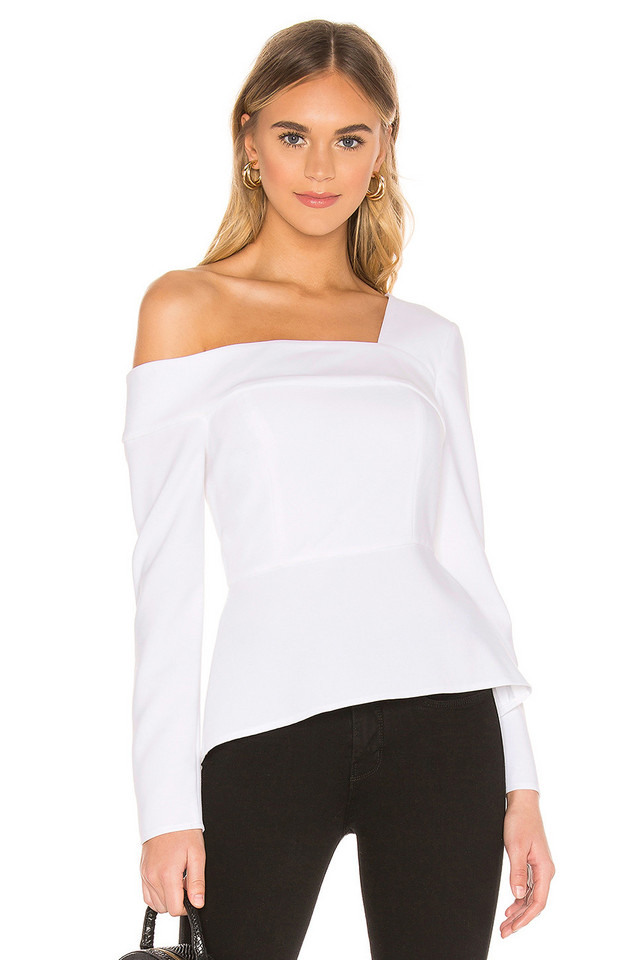 BCBGMAXAZRIA Asymmetric Top in white