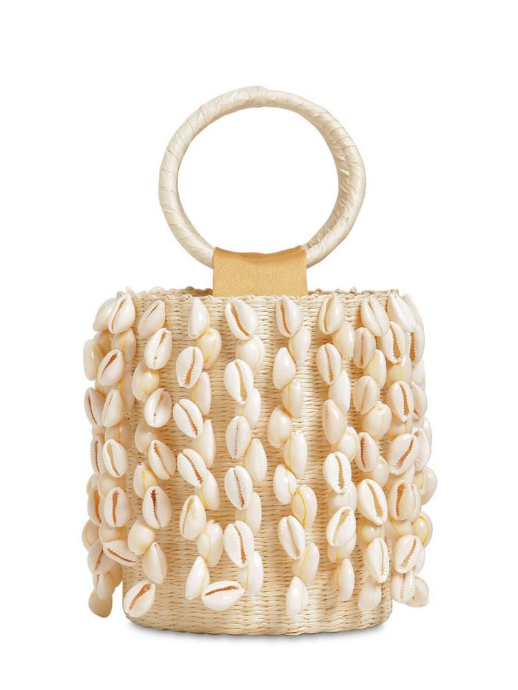 SENSI STUDIO Mini Seashells Straw Bucket Bag in natural