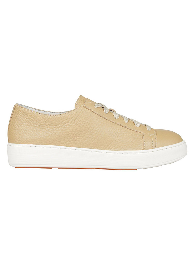 Santoni Lace Up Classic Sneakers in white / beige