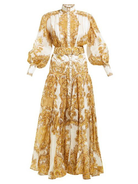 Zimmermann - Zippy Balloon Sleeve Linen Blend Gown - Womens - Yellow Print