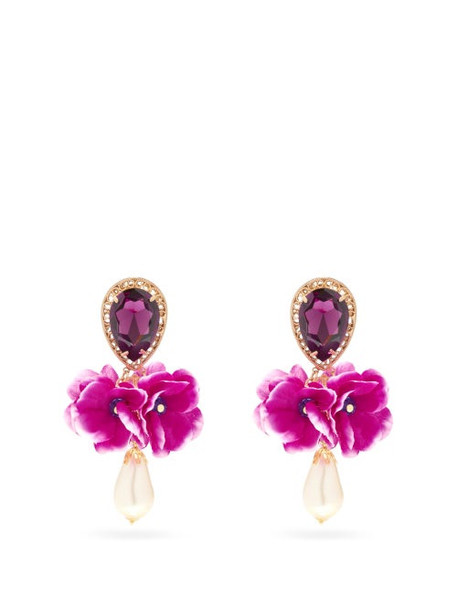 Dolce & Gabbana - Faux-pearl, Crystal & Satin-flower Clip Earrings - Womens - Pink Multi