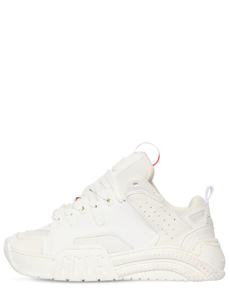 GCDS 50mm Leather & Mesh Sneakers in white