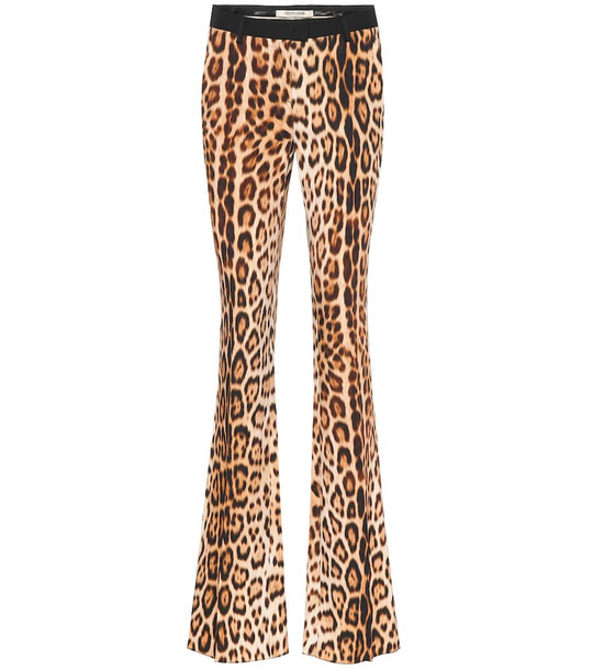 Roberto Cavalli Leopard-print bootcut pants in brown