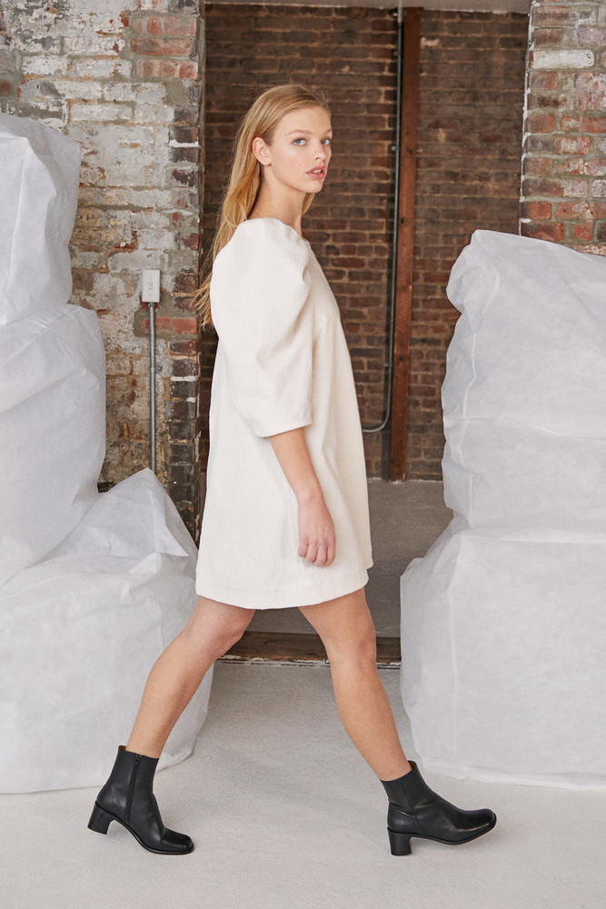 WHIT CLARE DRESS in IVORY CORDUROY