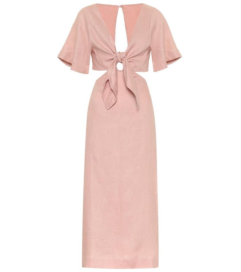 Cult Gaia Maya linen midi dress in pink