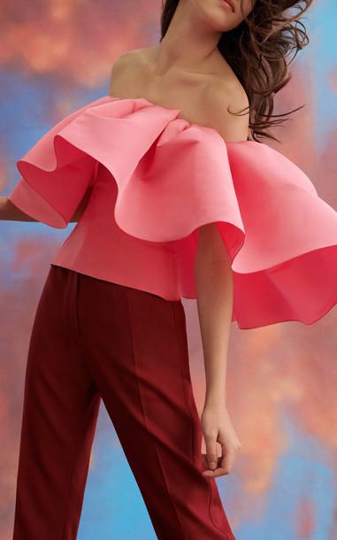 Carolina Herrera High Waisted Straight Leg Twill Pants in red