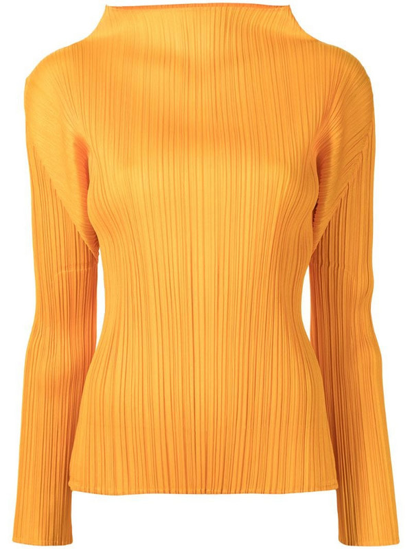 Pleats Please Issey Miyake Shooting Star plain plissé top in orange
