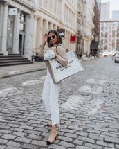 shoes,slingbacks,white jeans,cropped jeans,ysl bag,white bag,turtleneck sweater