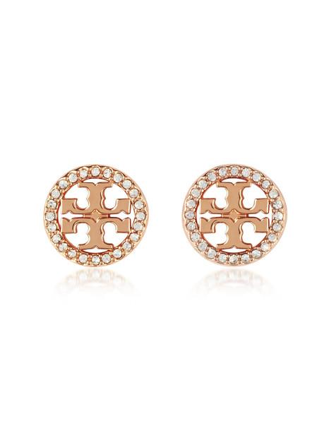 Tory Burch Crystal Logo Circle-stud Earrings in gold / rose