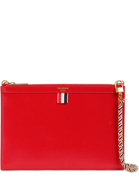 THOM BROWNE Small Leather Zip Clutch in red